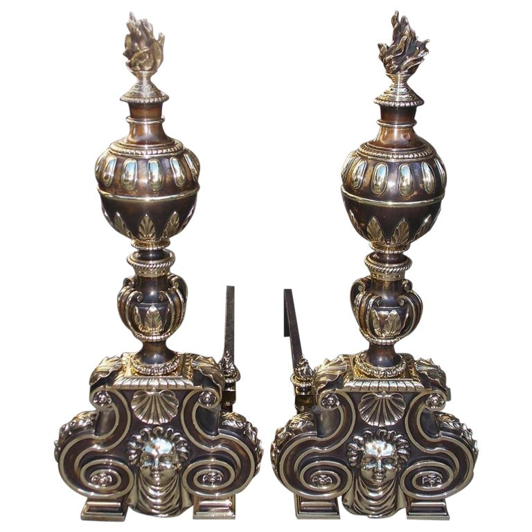 Pair of American Bronze Figural and Ball Top Flame Finial Andirons, N.Y. C. 1880 For Sale