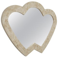 Postmodern Double Heart Beige Tessellated Stone Mirror, 1990s