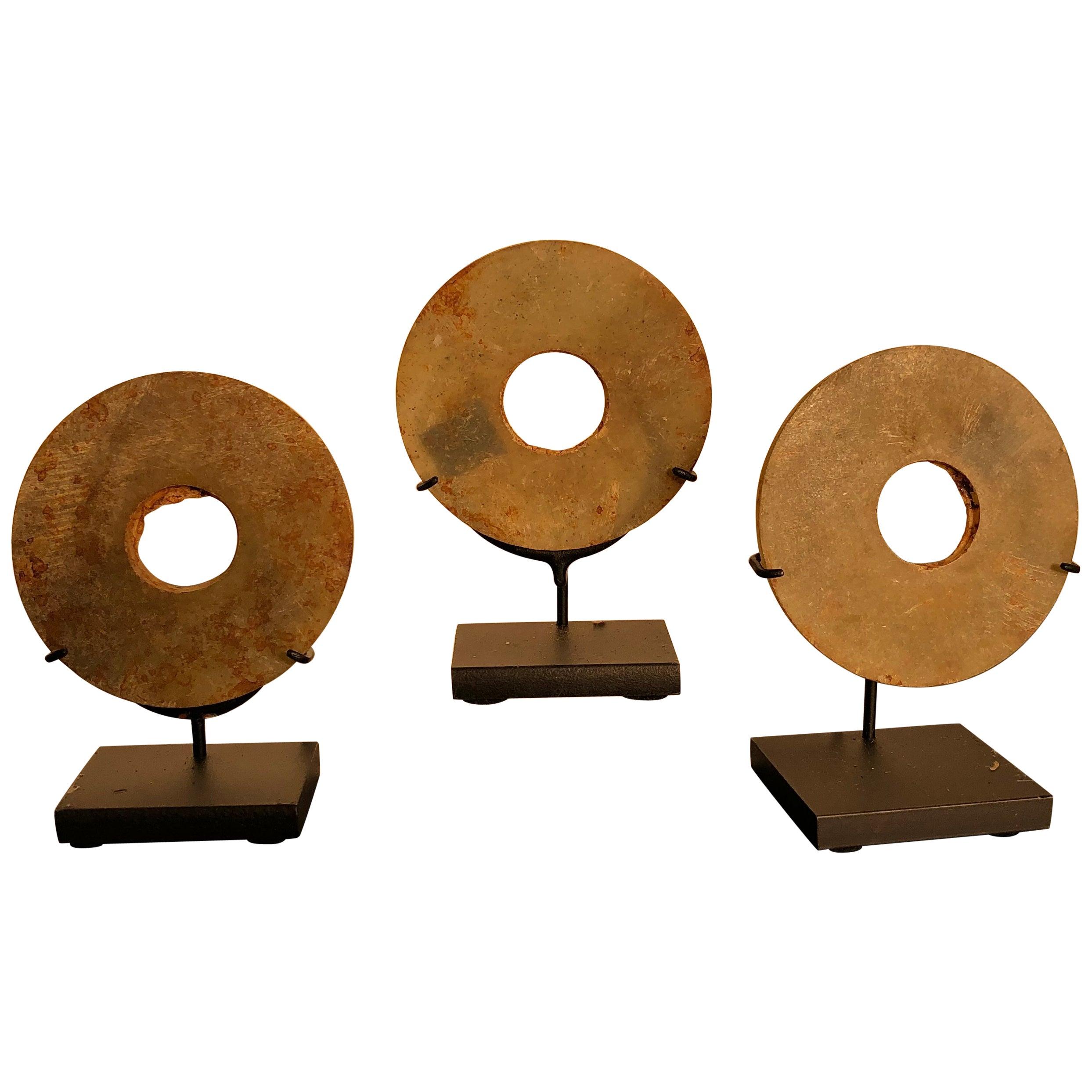 Ancient Chinese Handmade Jade Bi Group Three Genuine Artifacts from 2000 BC