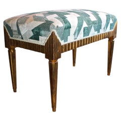 Skyscraper American Art Deco Machine Age Moderne Upholstered Bench