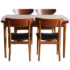 Midcentury Danish Modern Teak Curved Two-Tone Dining Set