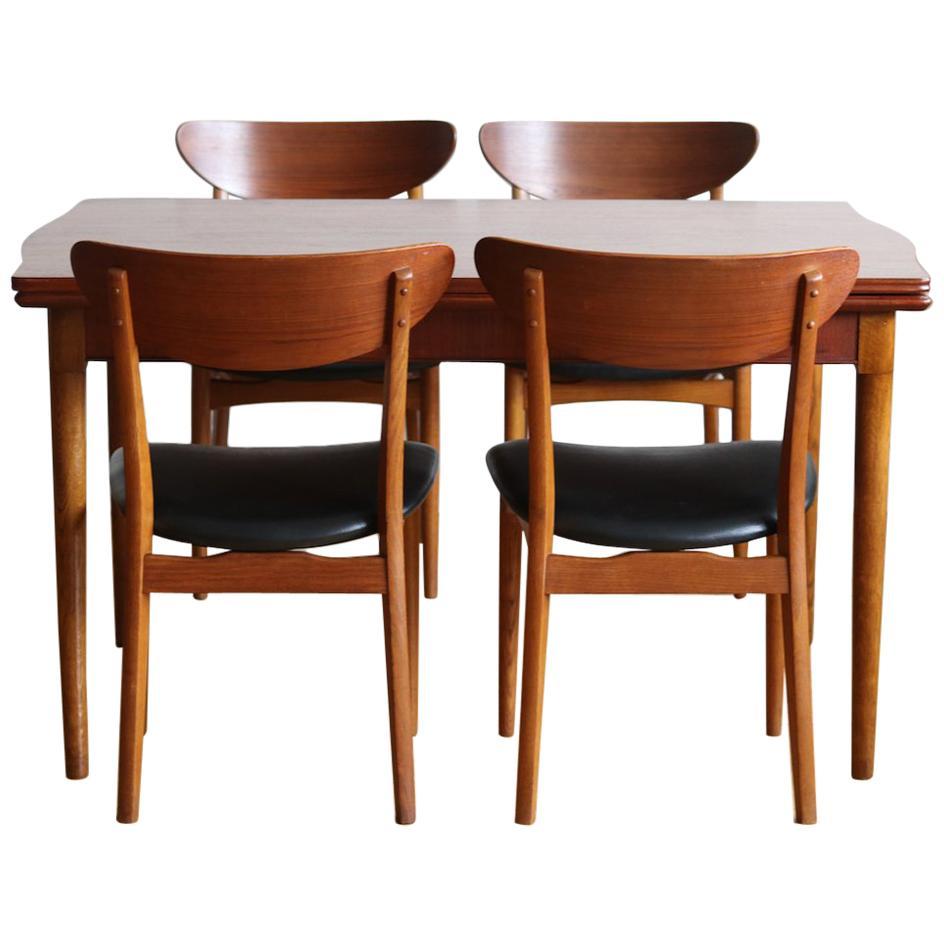 Midcentury Danish Modern Teak Curved Two Tone Dining Set
