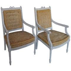 Zwei Schwedische Sessel im Gustavianischen Stil
