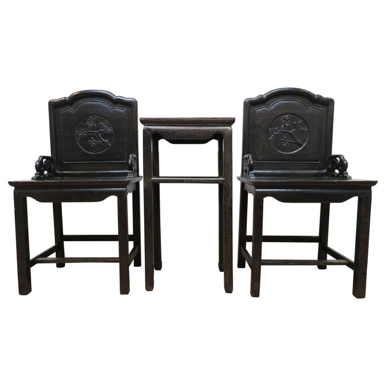 Qing Dynasty Zitan Chair Set For Sale