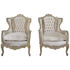 Pair of French Louis XV Style Cream Velvet Upholstered Bergeres, circa 1930s