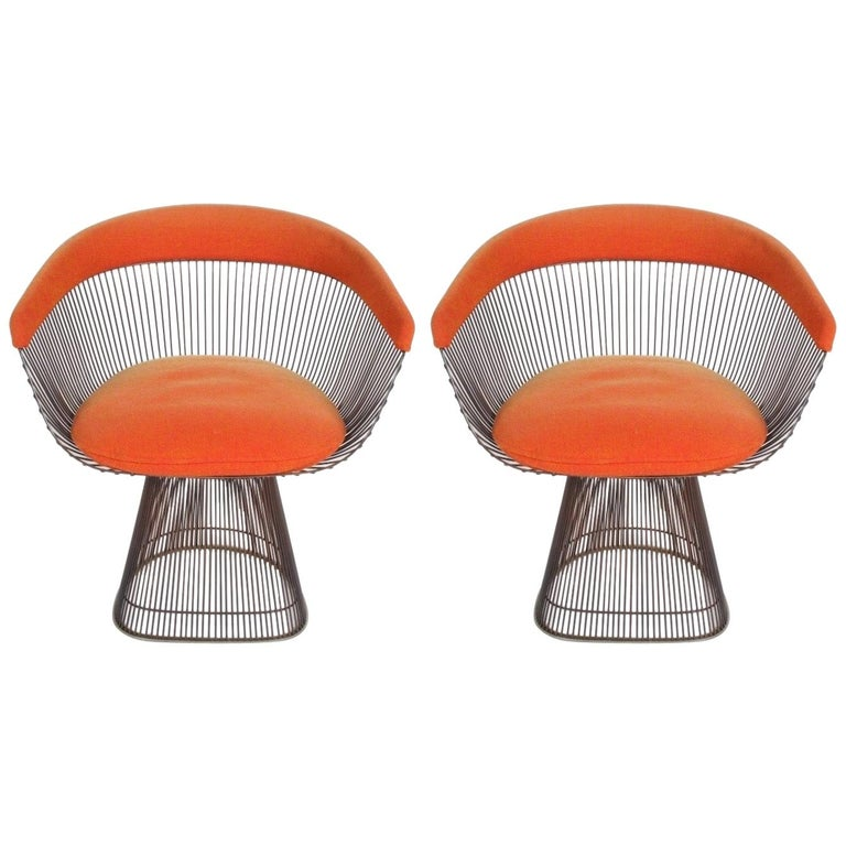 Pair of Warren Platner Bronze Dining Chair for Knoll, Need Restoration For Sale