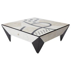 "Postmodern Tessellated Stone ""Et Cetera"" Square 2-Drawer Cocktail Table, 1990s"