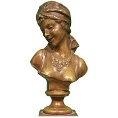 Small Bronze Bust of Odalisque with Red French Marble Base, French Manufacture