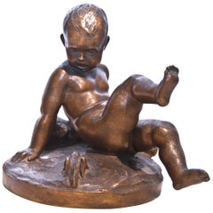 Bronze Sculpture of Child with Teddy Bear and Grasshopper by Pietro Piraino