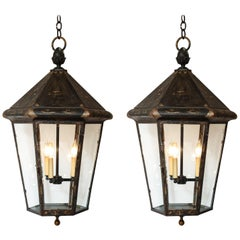 Pair of Blackened British Lanterns