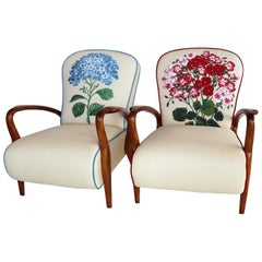 Italian Midcentury Armchairs in Oakwood and Tapestry Fabric, 1950s