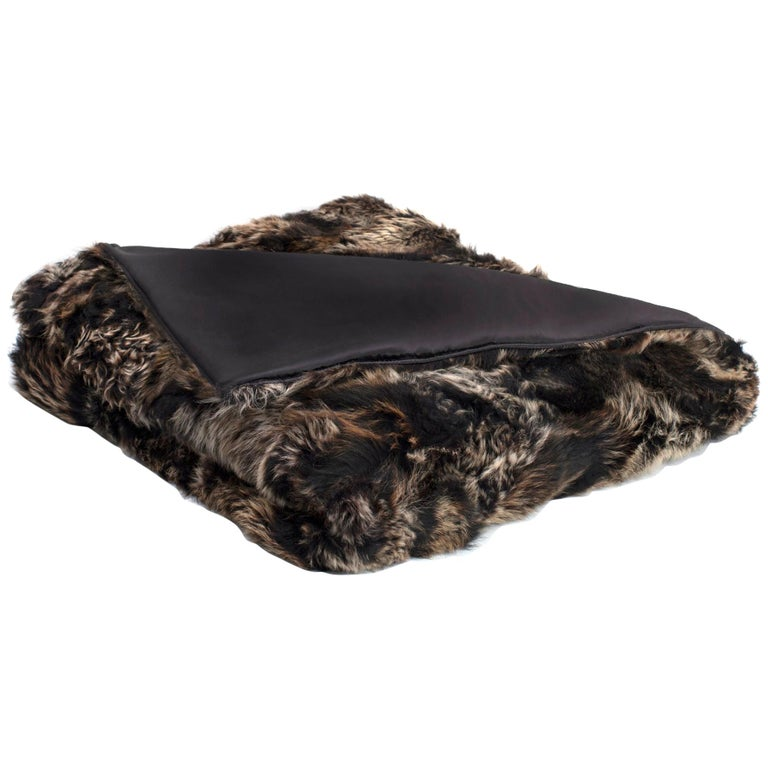 """Real """"Upcycled"""" King Size Fur Throw with Silk Backing For Sale"""
