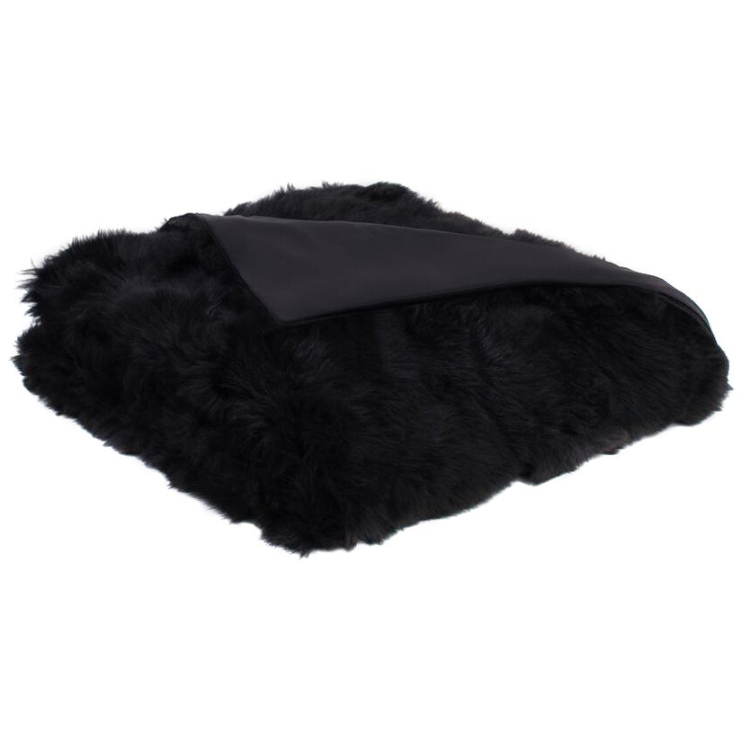 Black Toscana Sheep Fur Throw Blanket with Silk Backing by JG Switzer