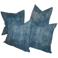19th Century Blue Homespun Linen Pillows / Group of Four