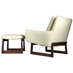 1960s Lounge Chair and Ottoman Designed by Jens Risom
