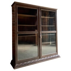 Magnificent Antique Oak Glazed Bookcase Carved Decoration, Early 20th Century