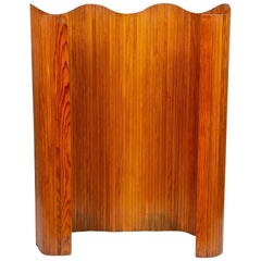 1940s Art Deco Vintage Jomain Baumann Pine Lamels Floor Screen Room Divider