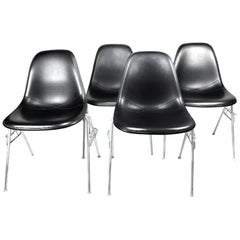Black Upholstered Eames Stacking Chairs for Herman Miller, Set of Four