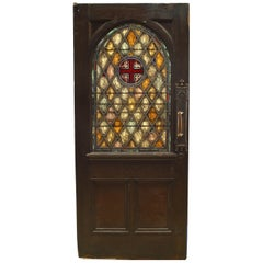 English Gothic Style Stained Oak Door