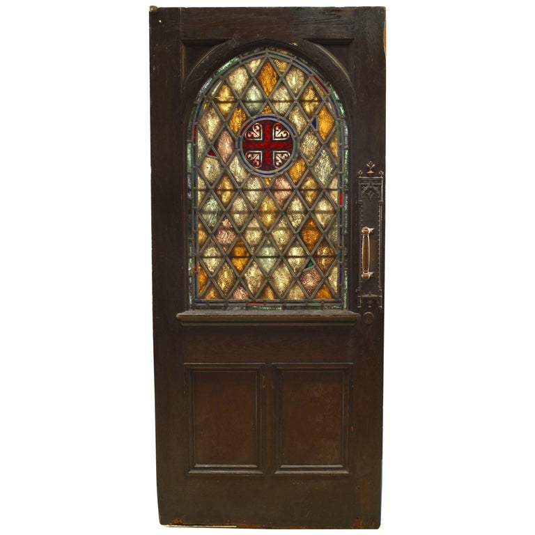 English Gothic Style Stained Oak Door For Sale