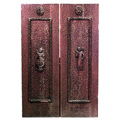 Pair of Asian Burmese Style Walnut Carved Door Panels, 19th Century