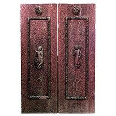 Pair of Burmese Carved Walnut Door Panels