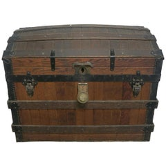Excelsior Slatted Oak Trunk Patented 1868 Steamer Trunk