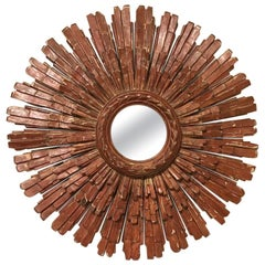 Midcentury Italian Red Starburst Mirror by Palladio
