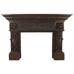 English Renaissance Style Carved Mahogany Fireplace Mantel