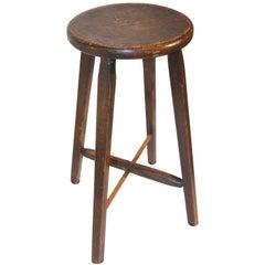 19th Century Original Brown Painted Stool