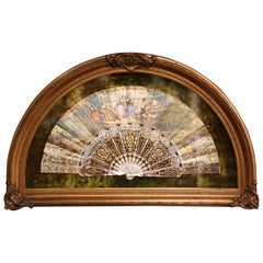 18th Century French Painted Paper and Mother of Pearl Fan in Gilt Glass Frame