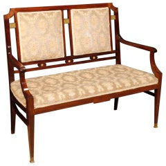 20th Century Mahogany Wood and Velvet French Art Deco Sofa, 1930
