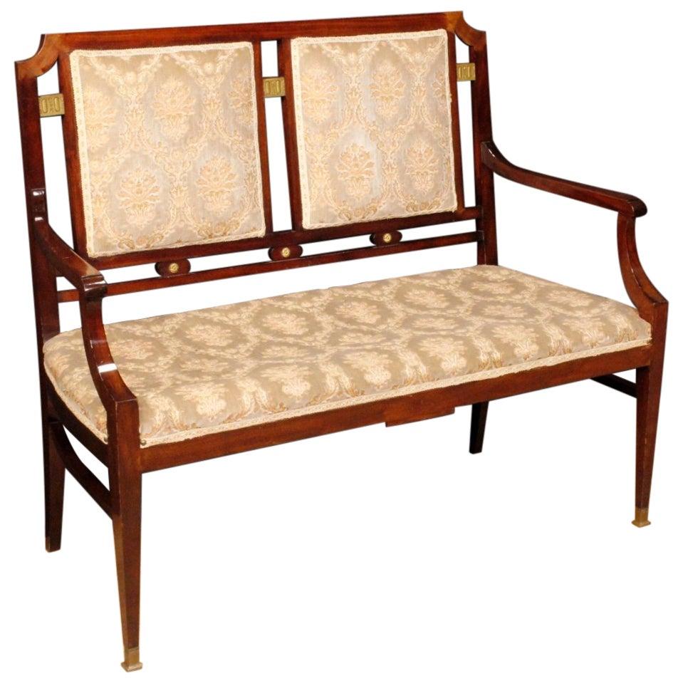 20th Century Mahogany Wood and Velvet French Art Deco Sofa, 1930