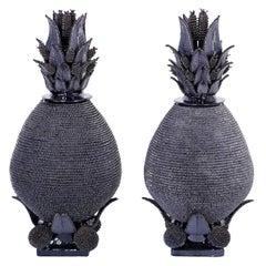 Paar Blau Glasierte Keramik oder Terrakotta Ananas Urnen mit Deckel