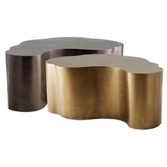 Handcrafted Composition of Two Coffee Tables in Brass and Bronze Finish
