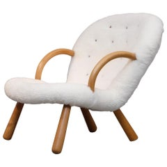 Philip Arctander Clam Chair by Nordisk Stål & Møbel Central in Denmark, 1940s