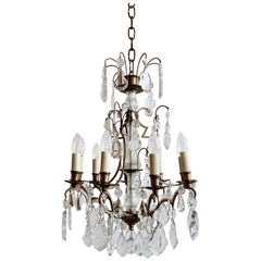 Silver Nickel Louis XIV Style Chandelier with Flat Leaf and Crystal Drops
