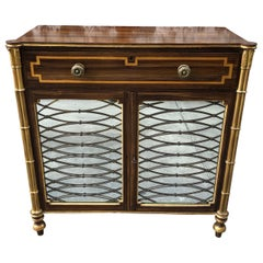 Grain Painted Regency Style Cabinet with Mirrored Bottom Doors at Base