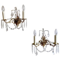 Pair of French Gilded Ornate Lamp Brass Wall Lights with Crystal Swag Drops
