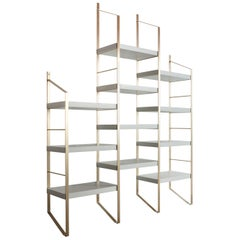 Contemporary bookcase, shelves, shelf in wood and brass