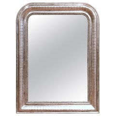 19th Century French Louis Philippe Silver Mirror with Engraved Stripe Decor