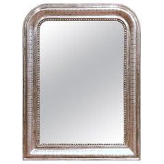 19tes Jahrhundert Französisch Louis Philippe Silber Spiegel mit gravierten Streifen Dekor