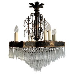 Large French Square French Tiered Waterfall Chandelier with Glass Icicle Drops