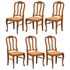 Set of Six Louis XV French Carved Oak Ladder Back Chairs with Rush Woven Seat