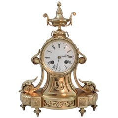 French Belle Epoque Bronze Gilt Mantel Clock