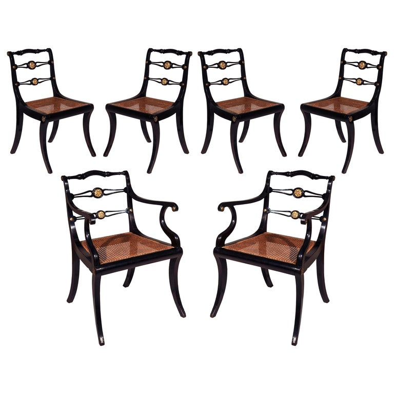 Six Regency Ebonized Klismos Dining Chairs For Sale