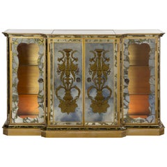 French Art Deco Eglomisé Smoked Mirror Bar Server Console, circa 1940s