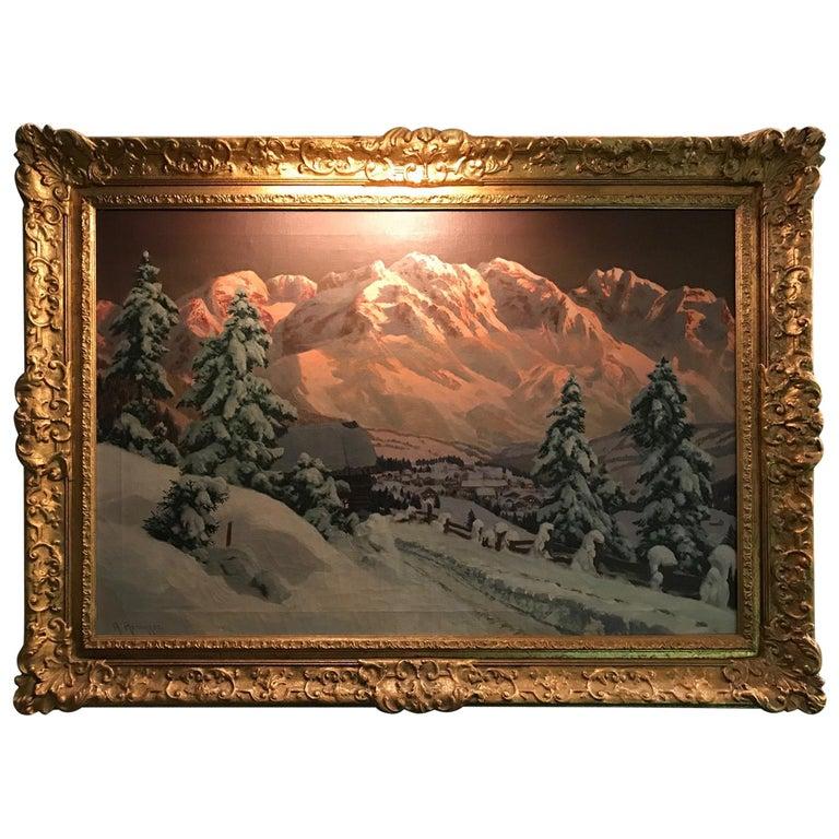 Late 19th-20th Century Winter Landscape, Alois Arnegger Oil on Canvas Snow Scene For Sale