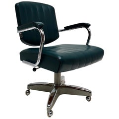 Mid-Century Modern Adjustable Armchair / Office Chair Rolling Swivel