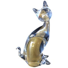 Sommerso Art Glass Cat Sculpture by Murano